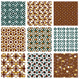 Set of dotted seamless patterns with rings, brown polka dot tile