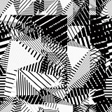 Black and white geometric stripy seamless pattern, contrast tatt