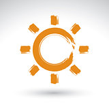 Hand drawn simple vector sun icon, brush drawing meteorology sig
