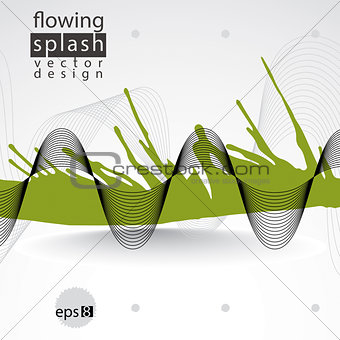 Modern vector inky wallpaper, eps8 flowing lines, ephemeral blob
