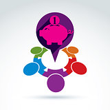Financial piggy bank savings and social money theme icon, people
