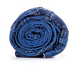 blue roll jeans isolated on white background