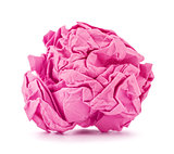 pink crumpled paper ball rolled on a white background