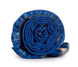 dark blue roll jeans isolated on white background