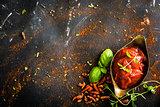 tomato sauce in a gravy boat
