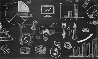 Business sketches on chalkboard