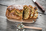 Pumpkin bread on the wooden board