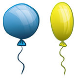 Two balloons. Blue and yellow. Vector