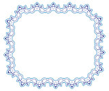 Openwork blue vector frame. vignette for design