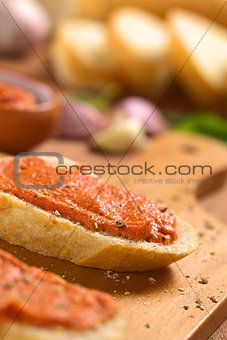 Tomato-Butter Spread on Baguette