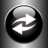 Two arrows icon on black glass button