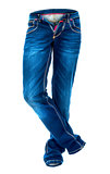 empty blue men's jeans isolated on a white background