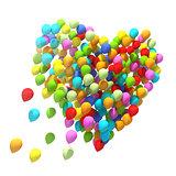 Big bunch of balloons. Heart shape.