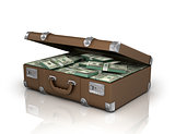 old case full of one hundred dollar bills.isolated with clipping