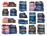 collection stacks of jeans on a white background