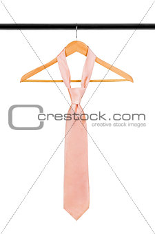 tie on a hanger on a white background