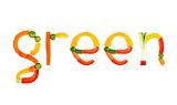 inscription vegetables on a white background