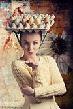 funny woman with easter eggs