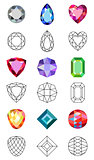 Low poly colored & black outline template gems cuts
