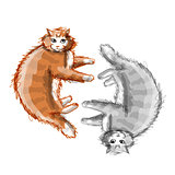 Cute orange and grey cats, sketch for your design