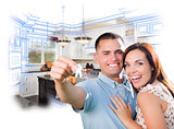 Military Couple with House Keys Over Kitchen Drawing and Photo