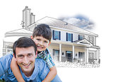 Father and Son Over House Drawing and Photo on White