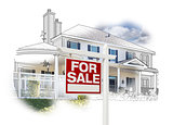 House and For Sale Sign Drawing and Photo on White