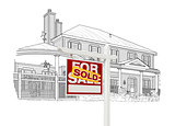Custom House and Sold Real Estate Sign Drawing on White