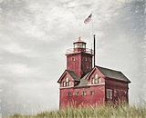 red lighthouse impressionism