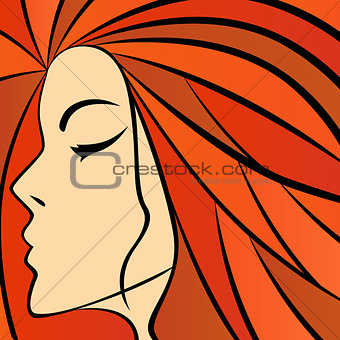 Abstract women with fiery hair