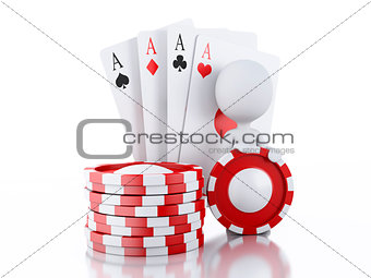 3d White people with casino tolkens and cards.