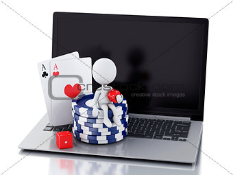 3d white people with laptop. Casino online games concept