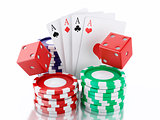 3d dice, cards and chips. Casino concept. Isolated white backgro