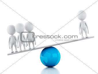 3d white people on a balance. Team concept, isolated white