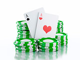 3d casino tokens and playing cards. Isolated white background