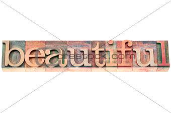 beautiful word in wood type