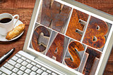 webcast word  on laptop screen