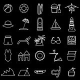 Beach line icons on black background