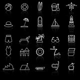 Beach line icons with reflect on black background