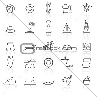 Beach line icons with reflect on white background