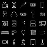 Electrical machine line icons on black background