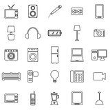 Electrical machine line icons on white background