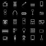 Electrical machine line icons with reflect