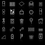 House related line icons with reflect on black background