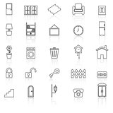 House related line icons with reflect on white background