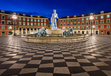 Place Massena and Fountain du Soleil at Dawn, Nice, France