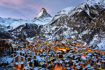Aerial View on Zermatt Valley and Matterhorn Peak in the Morning