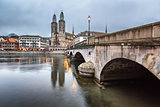 View on Grossmunster Church and Zurich Downtown in the Evening,