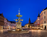Amagertorv Square and Stork Fountain in the Old Town of Copenhag