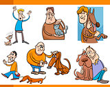 people with pets cartoon set